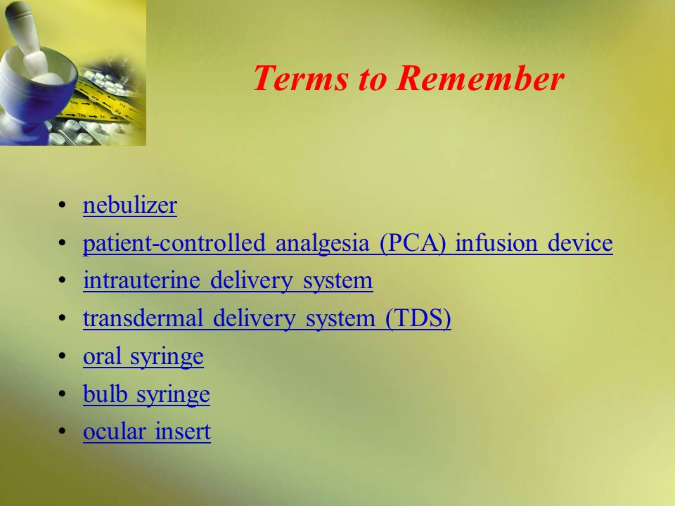 Terms to Remember nebulizer