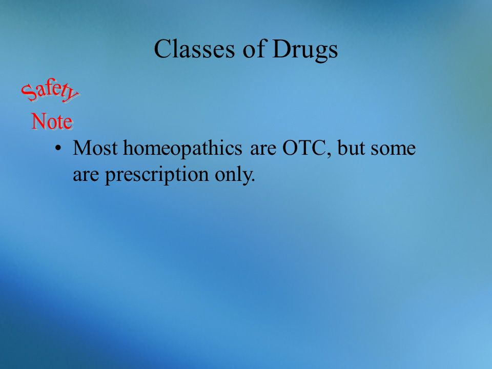 Classes of Drugs Safety Note