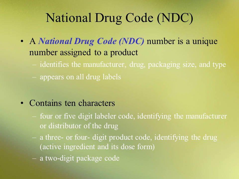 National Drug Code (NDC)