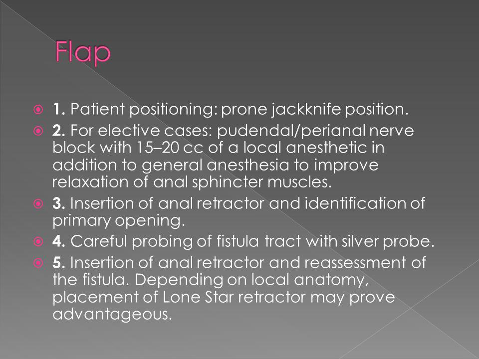 Flap 1. Patient positioning: prone jackknife position.