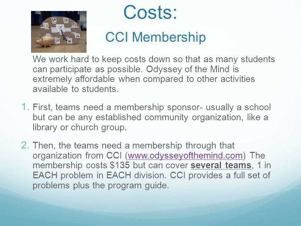 Costs: CCI Membership
