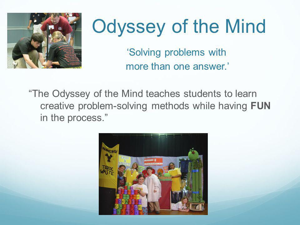 Odyssey of the Mind 'Solving problems with more than one answer.'