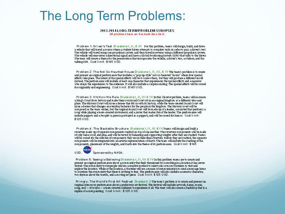 The Long Term Problems: