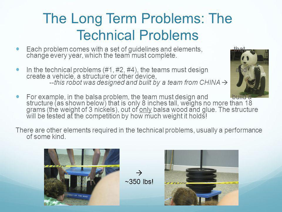 The Long Term Problems: The Technical Problems