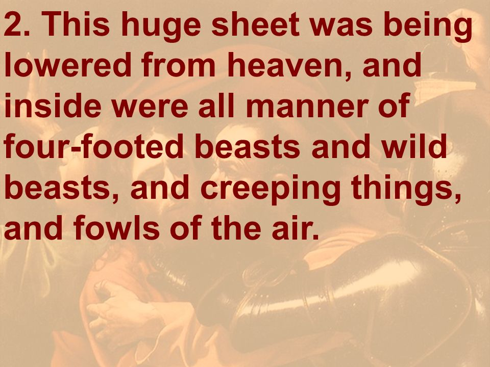 2. This huge sheet was being lowered from heaven, and inside were all manner of four-footed beasts and wild beasts, and creeping things, and fowls of the air.