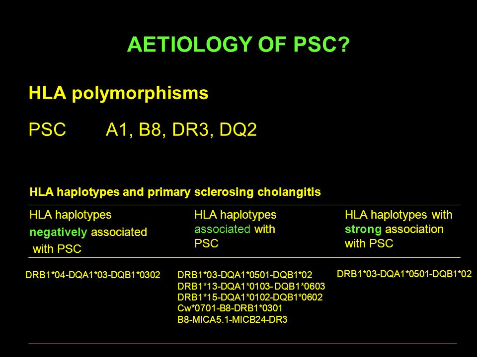 AETIOLOGY OF PSC HLA polymorphisms PSC A1, B8, DR3, DQ2