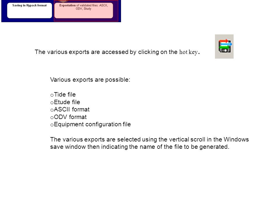 The various exports are accessed by clicking on the hot key.