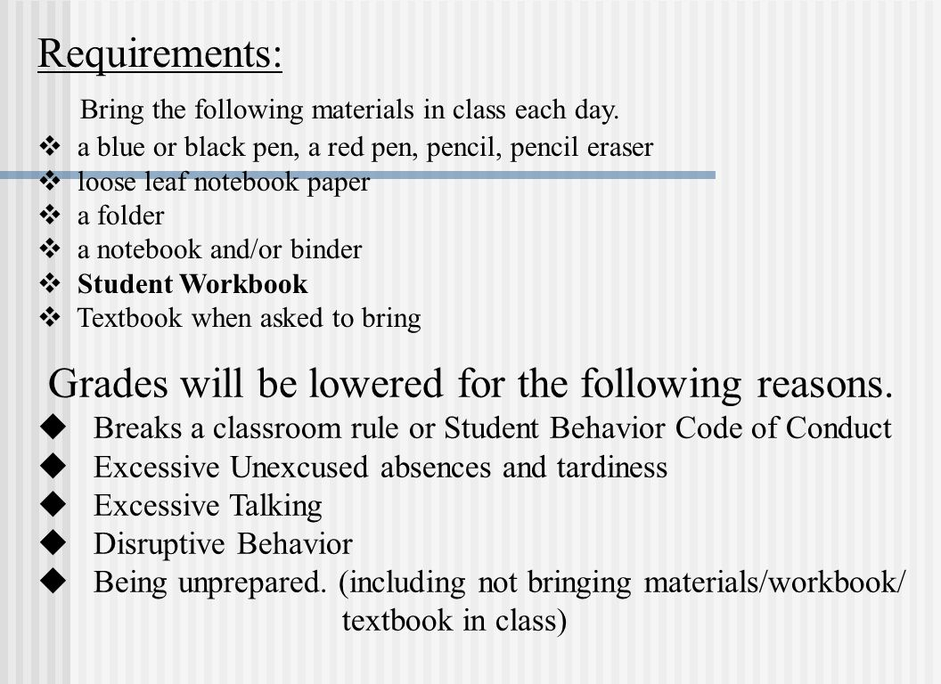 Bring the following materials in class each day.