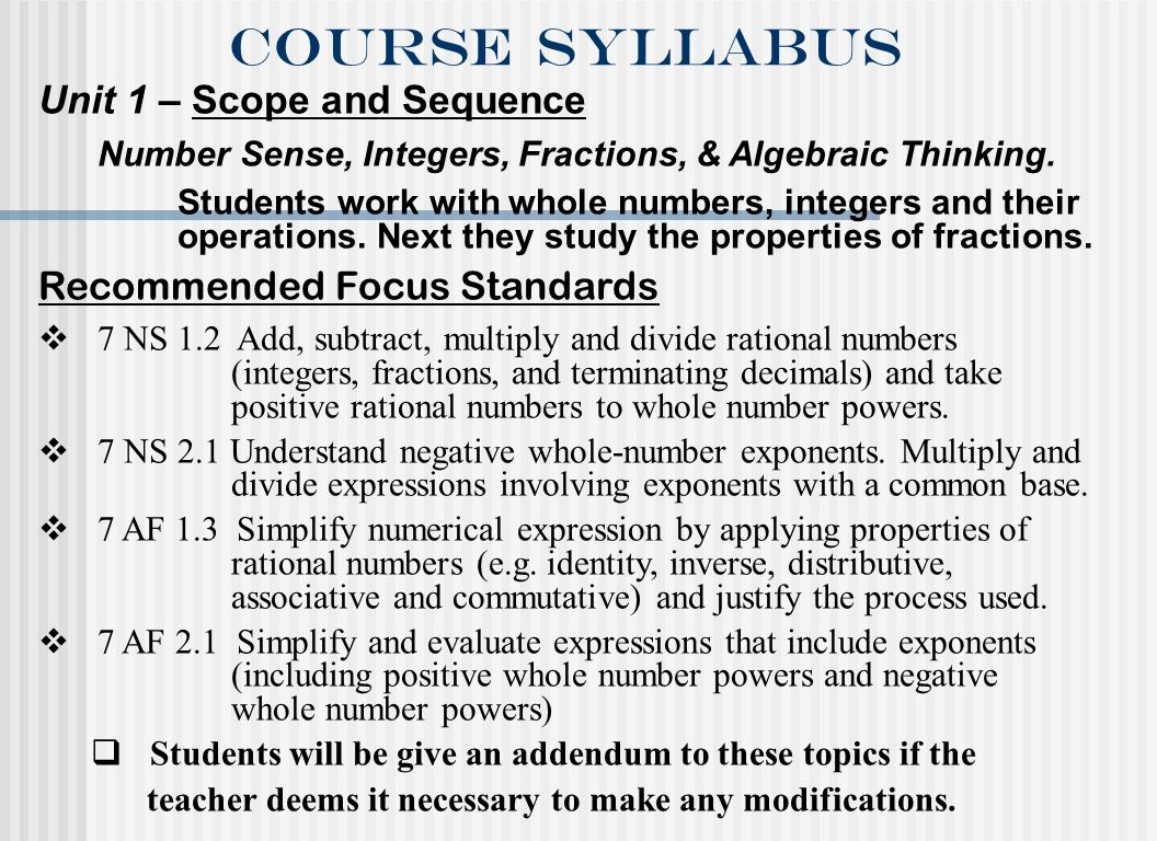Course syllabus Unit 1 – Scope and Sequence