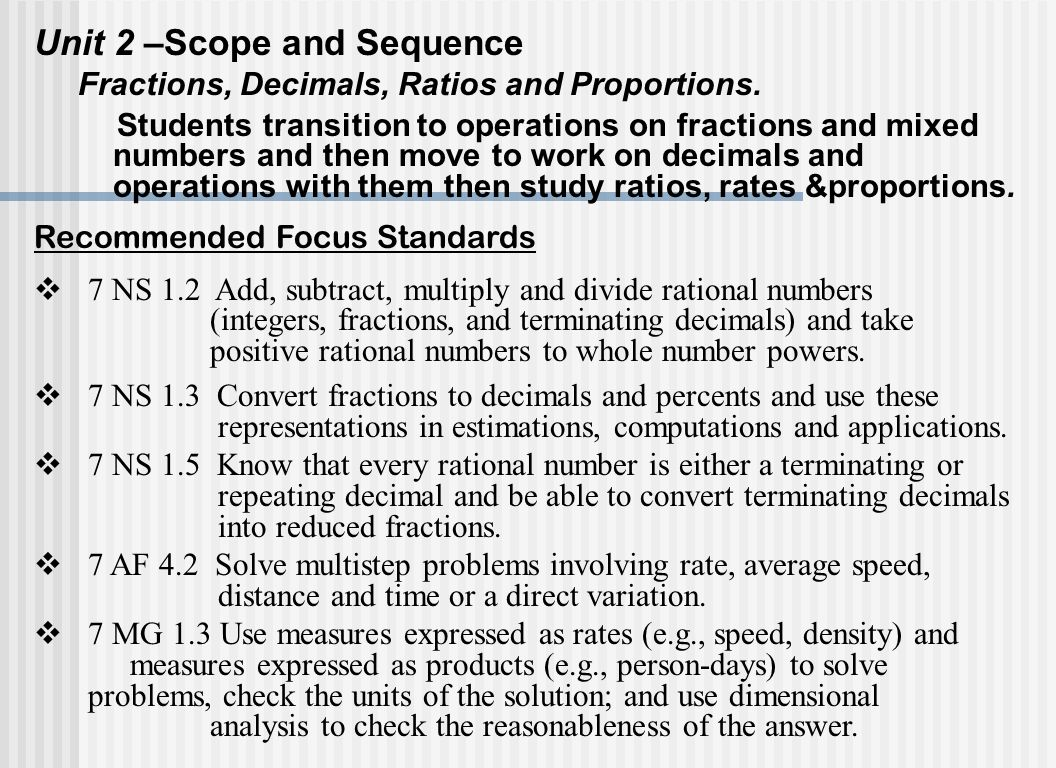Unit 2 –Scope and Sequence
