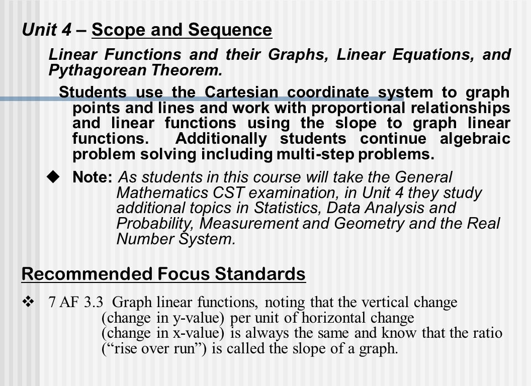 Unit 4 – Scope and Sequence