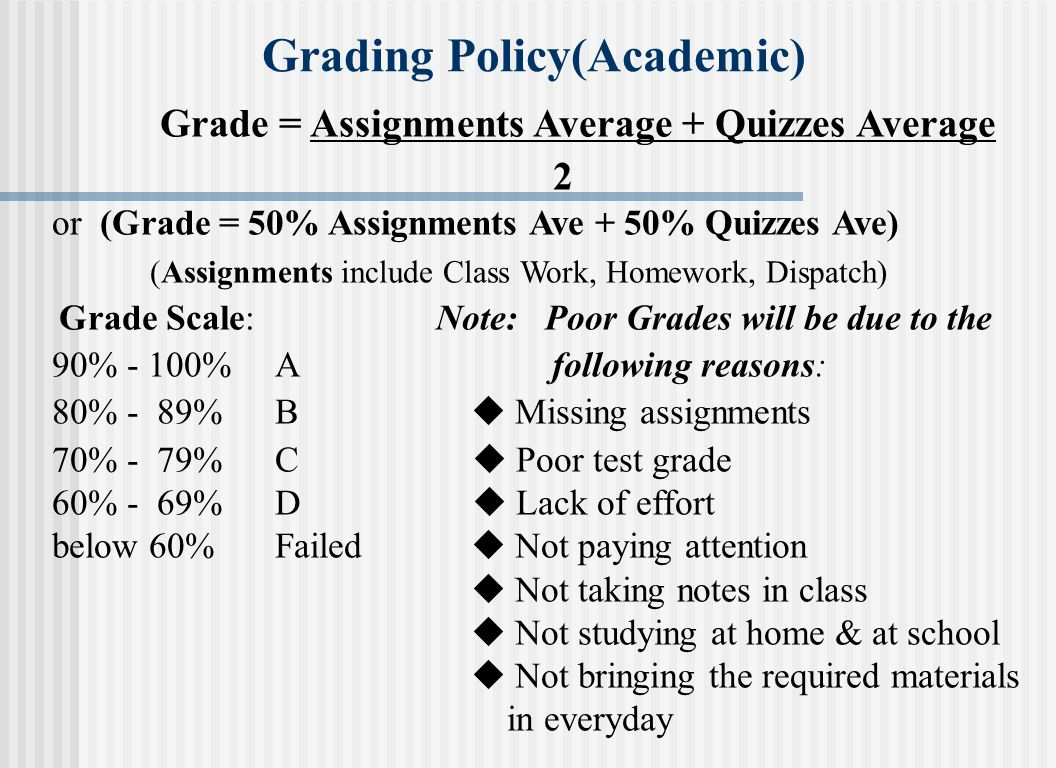 Grading Policy(Academic)