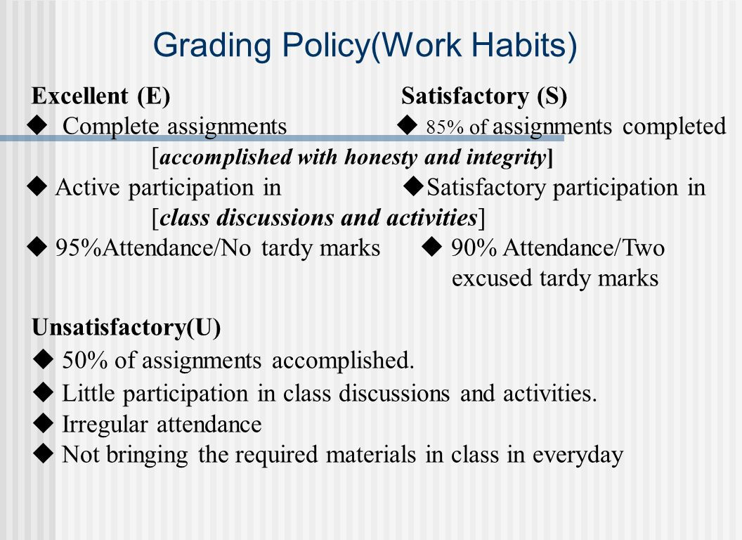 Grading Policy(Work Habits)