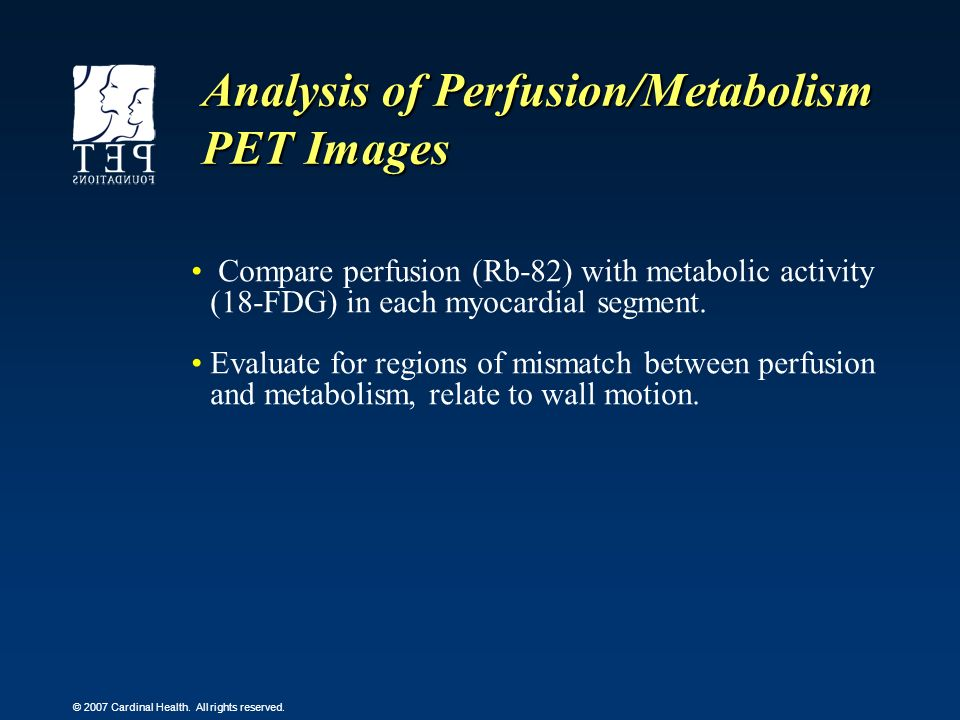 Analysis of Perfusion/Metabolism PET Images