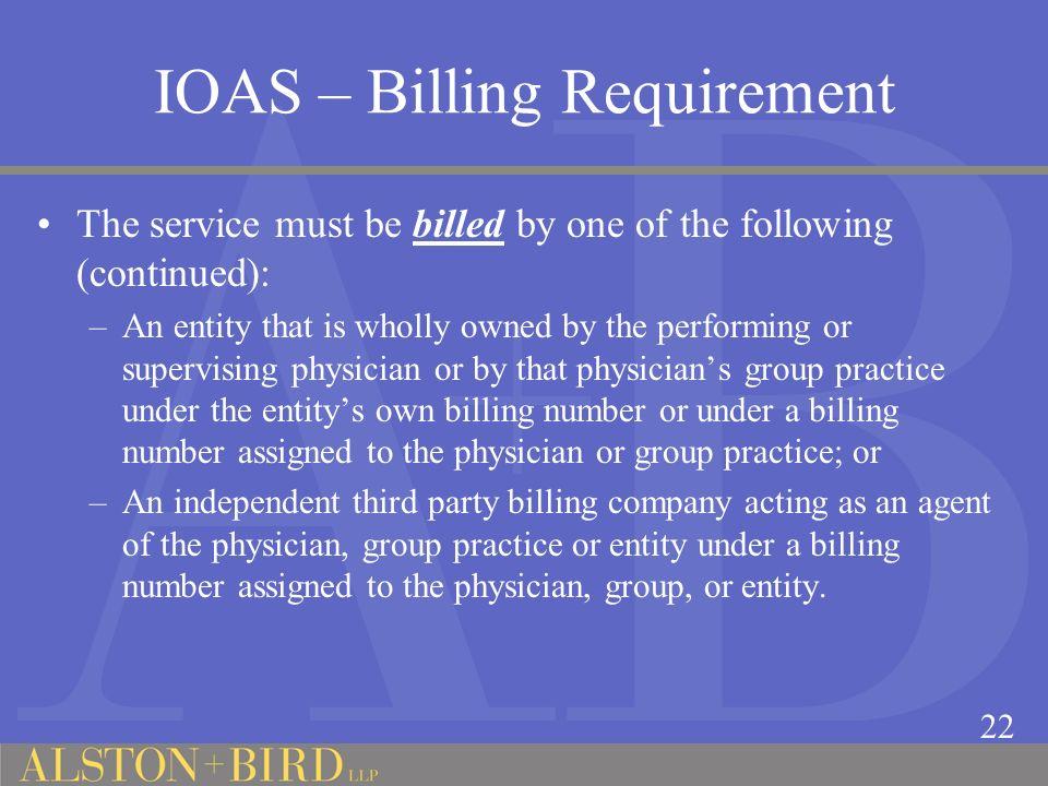 IOAS – Billing Requirement