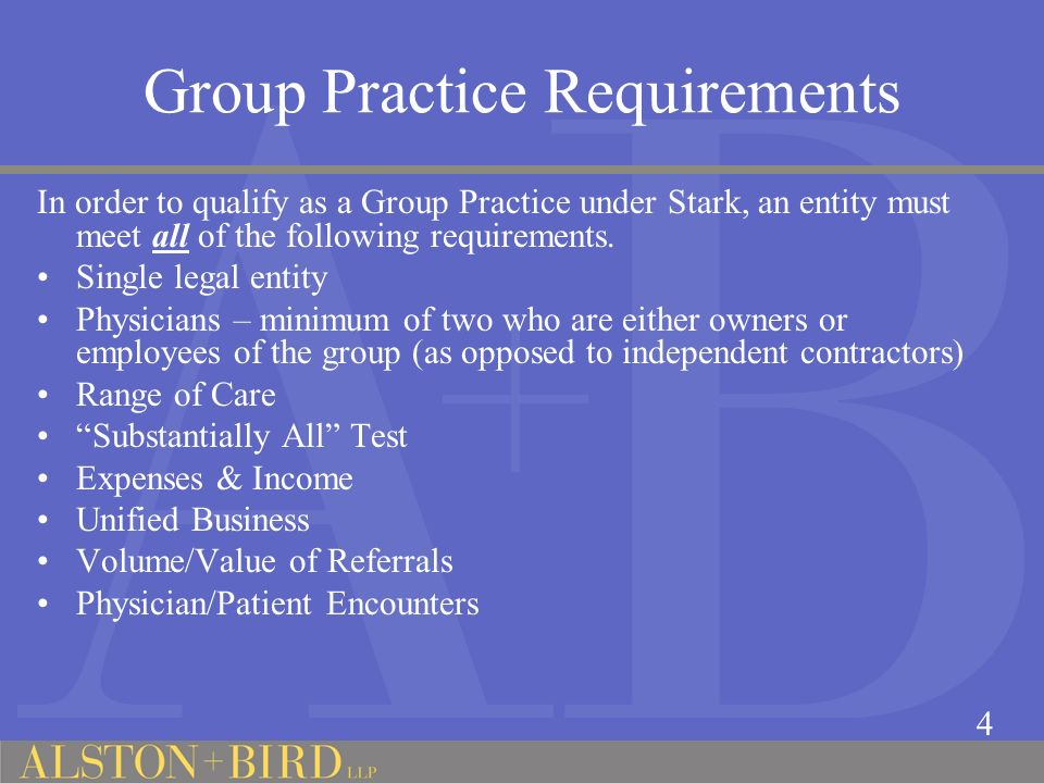 Group Practice Requirements
