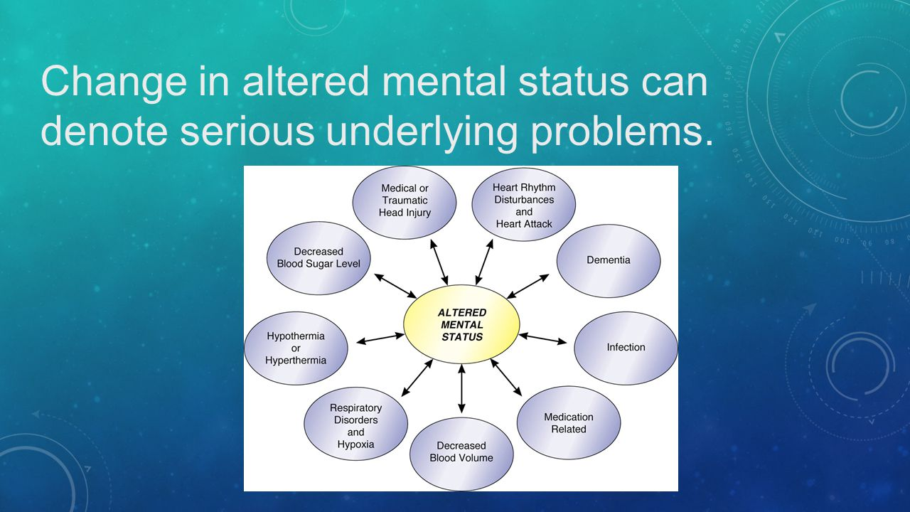 Change in altered mental status can denote serious underlying problems.