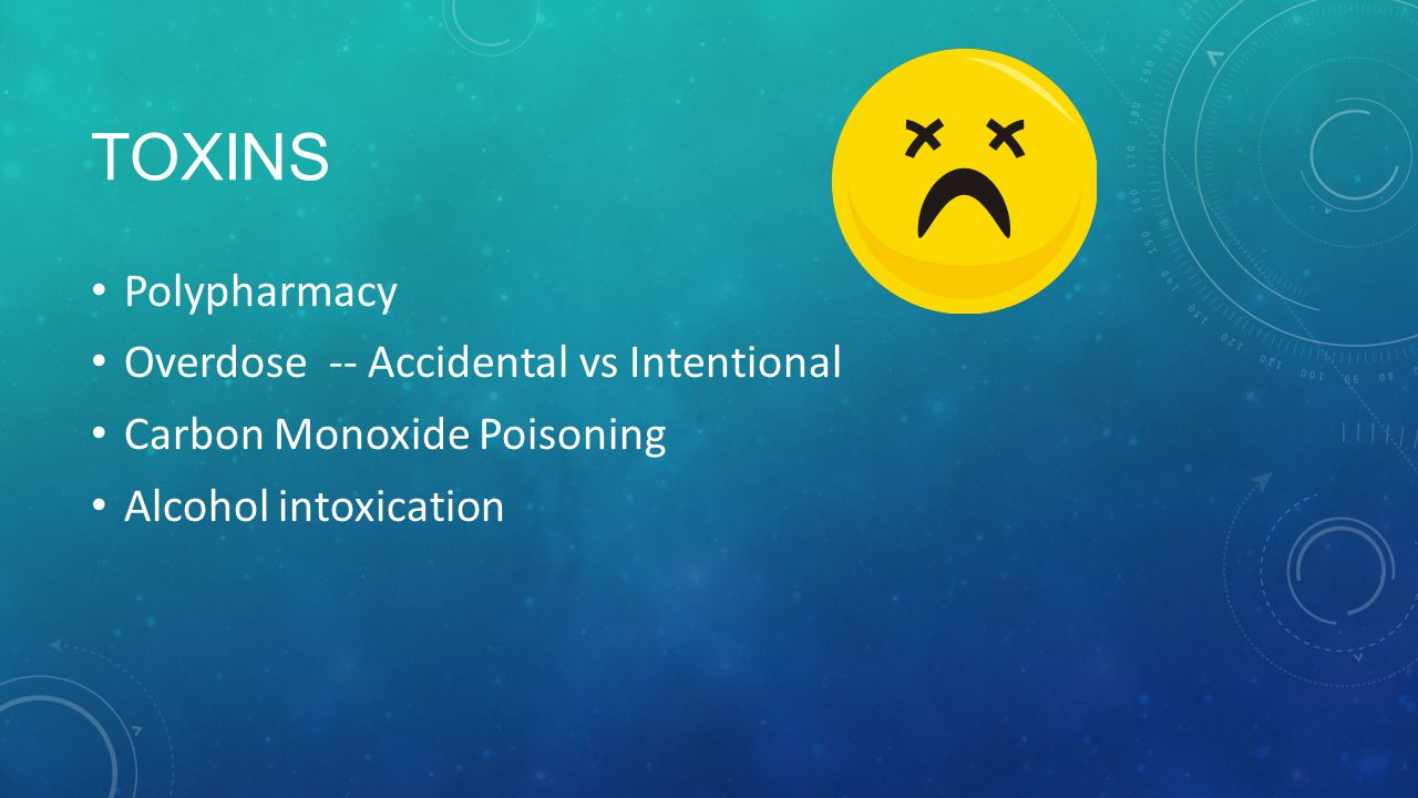 Toxins Polypharmacy Overdose -- Accidental vs Intentional