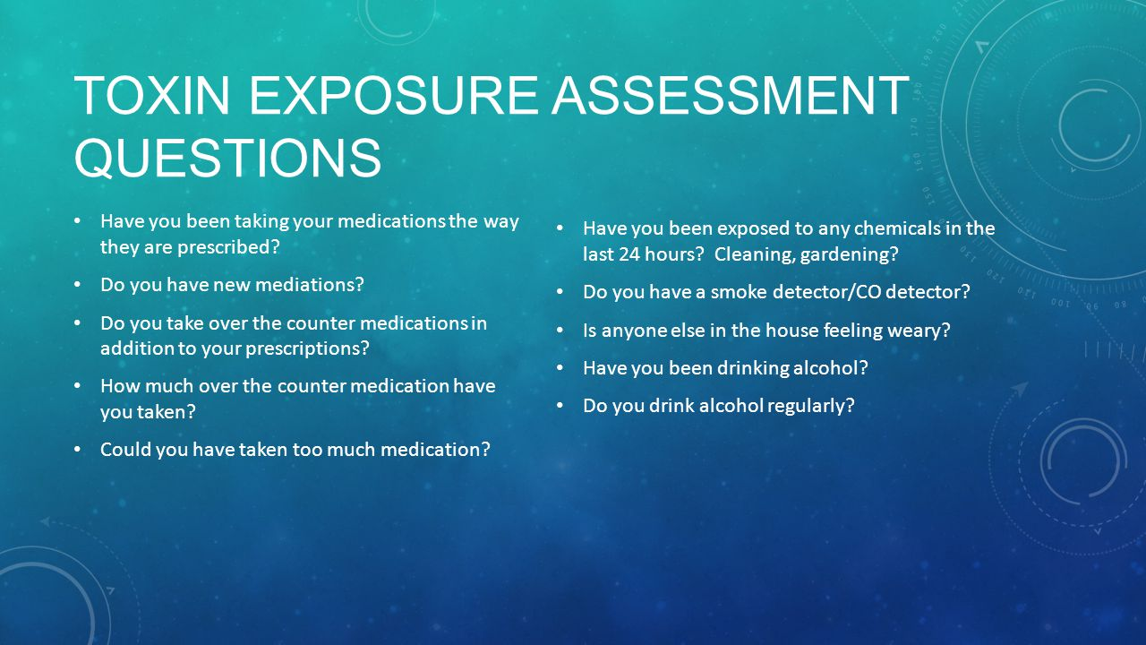 Toxin Exposure Assessment Questions