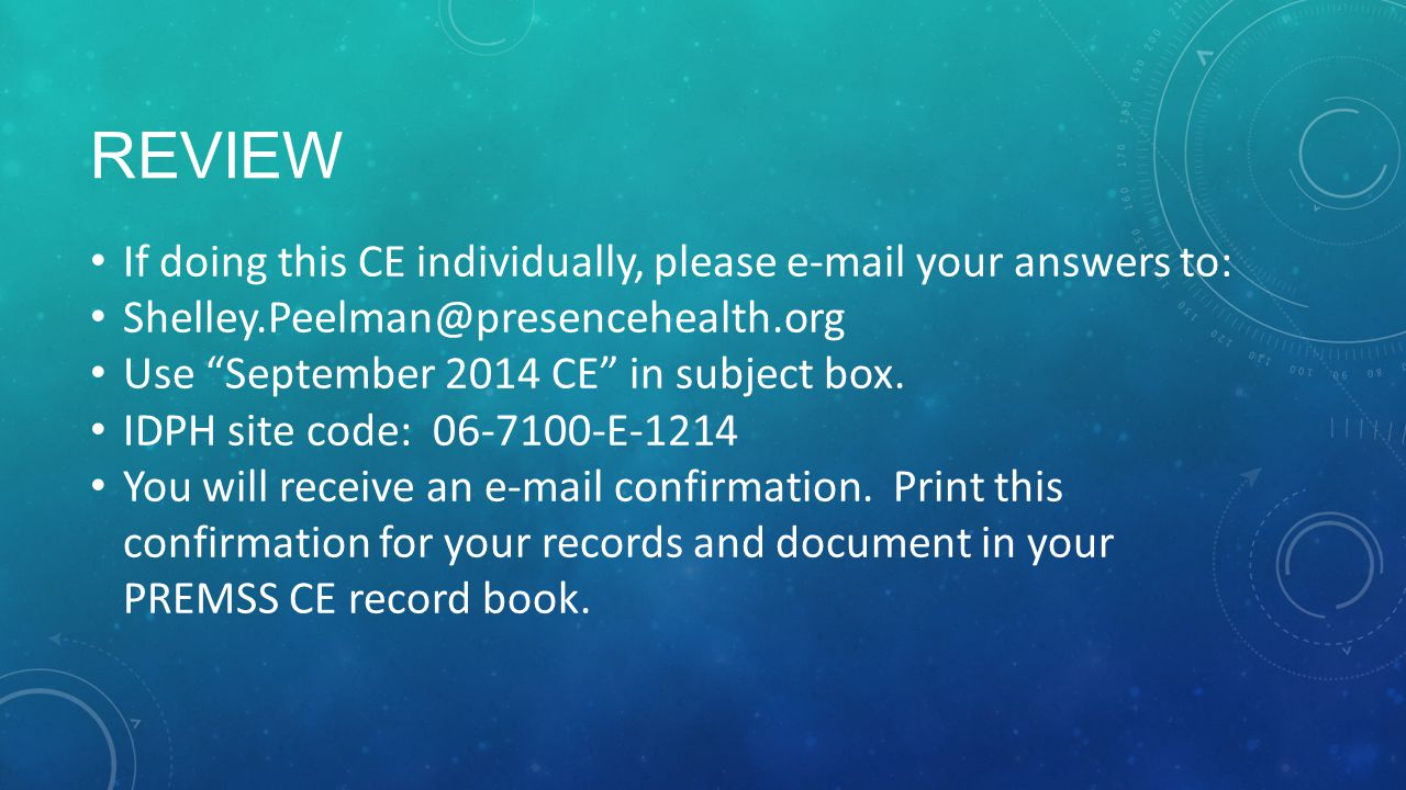 Review If doing this CE individually, please e-mail your answers to: