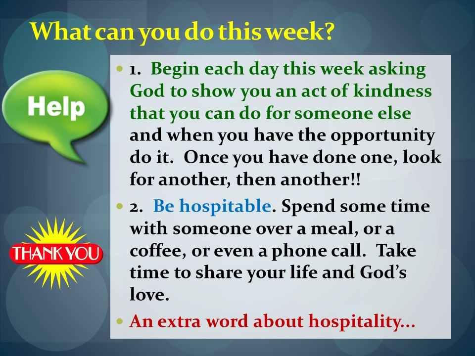 What can you do this week