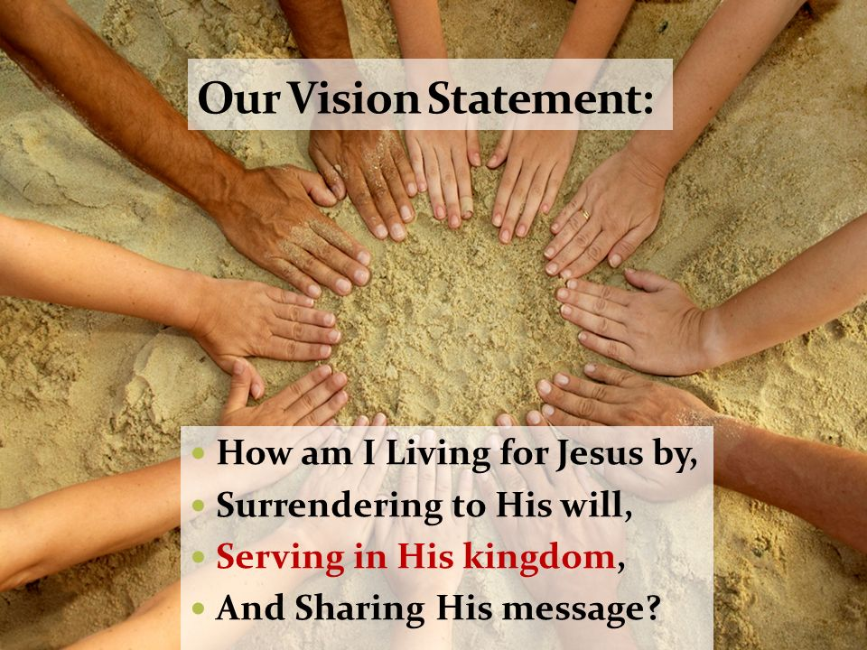 Our Vision Statement: How am I Living for Jesus by,
