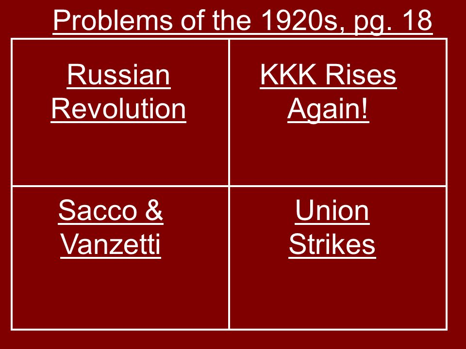 Problems of the 1920s, pg. 18 Russian Revolution KKK Rises Again! Sacco & Vanzetti Union Strikes