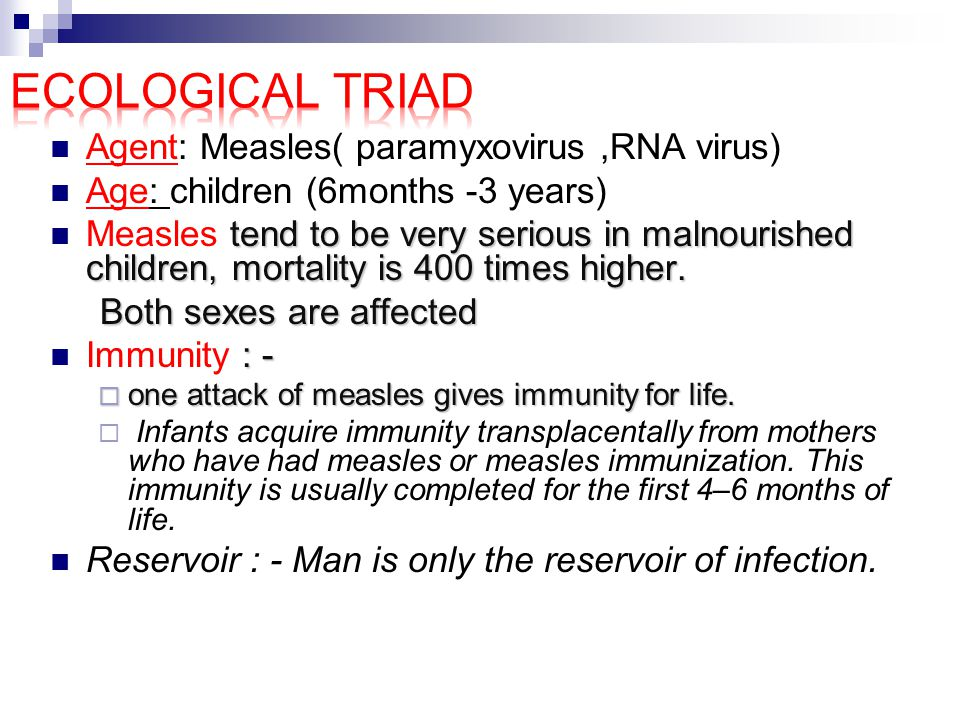 Ecological triad Agent: Measles( paramyxovirus ,RNA virus)