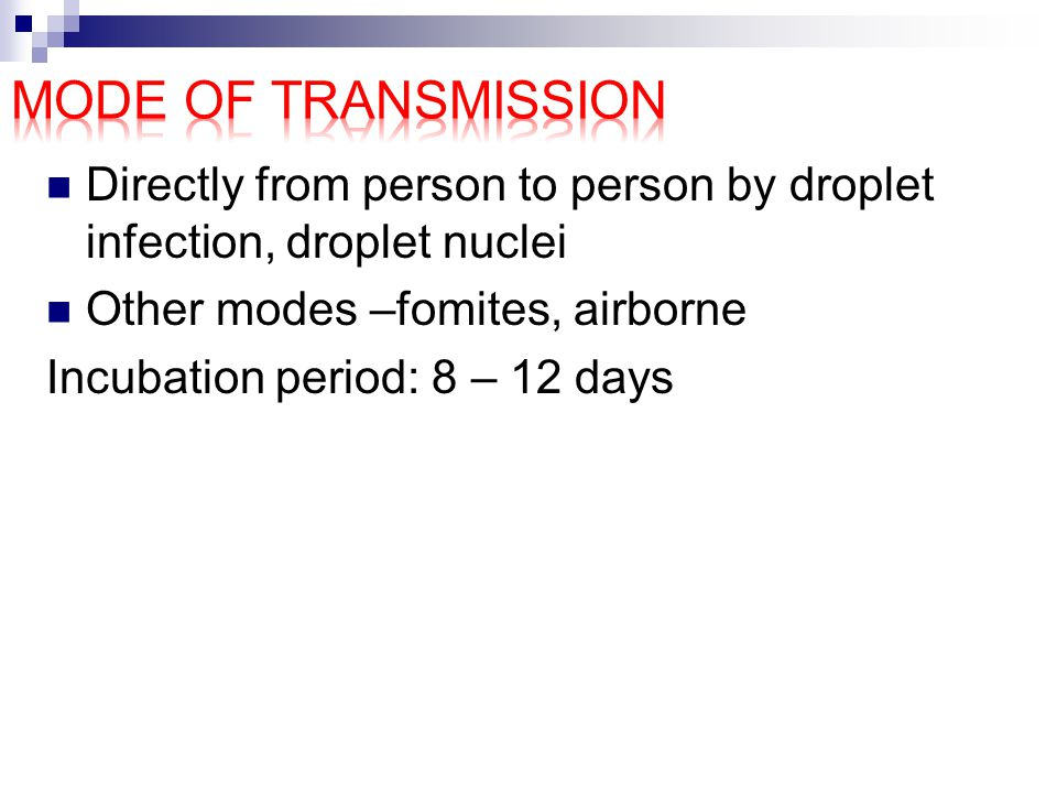 Mode of transmission Directly from person to person by droplet infection, droplet nuclei. Other modes –fomites, airborne.