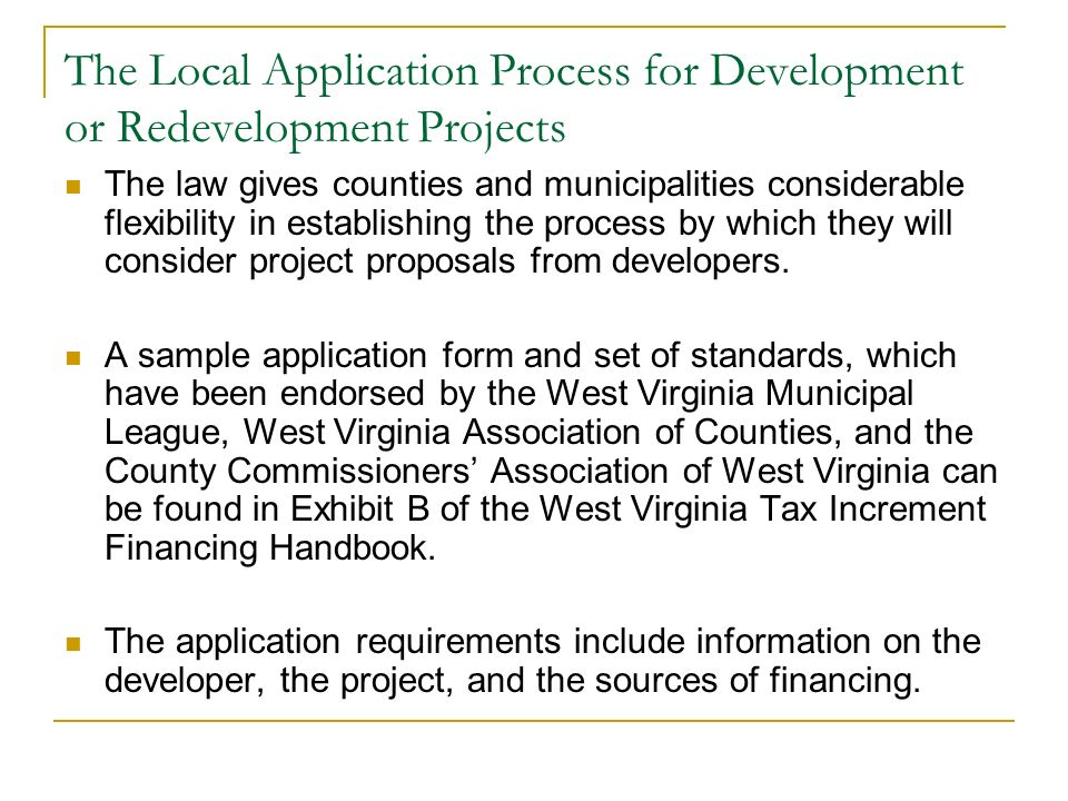The Local Application Process for Development or Redevelopment Projects