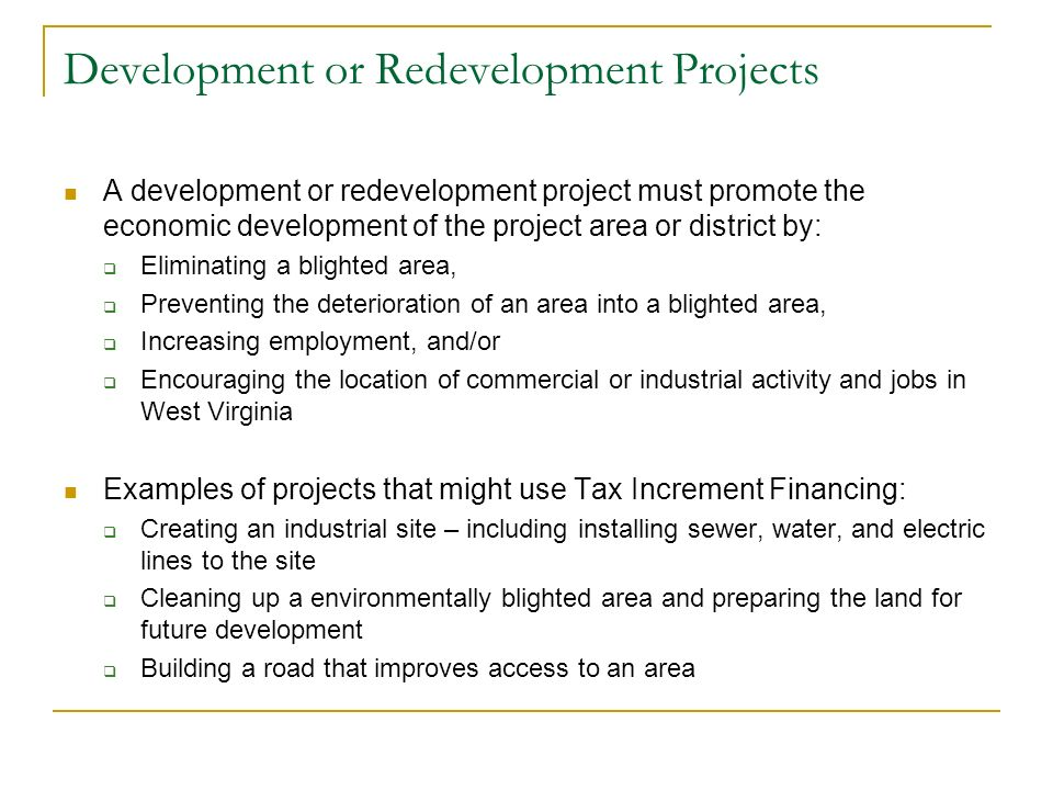 Development or Redevelopment Projects