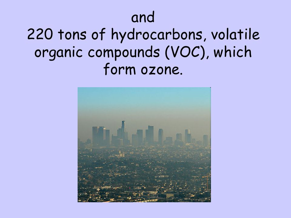 and 220 tons of hydrocarbons, volatile organic compounds (VOC), which form ozone.