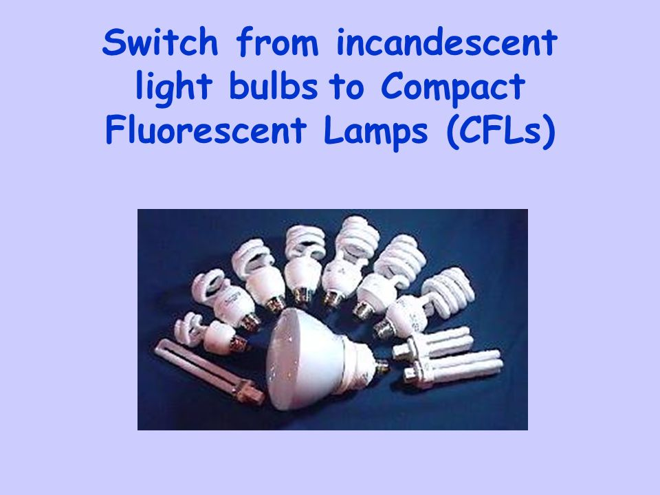 Switch from incandescent light bulbs to Compact Fluorescent Lamps (CFLs)