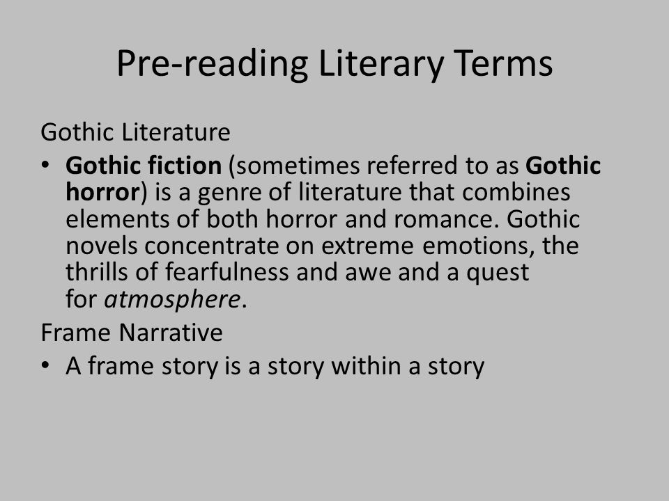 Pre-reading Literary Terms