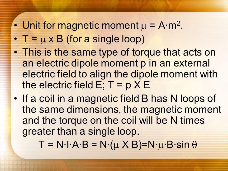 T = N·I·A·B = N·(m X B)=N·m·B·sin q