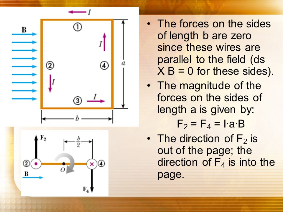 The forces on the sides of length b are zero since these wires are parallel to the field (ds X B = 0 for these sides).