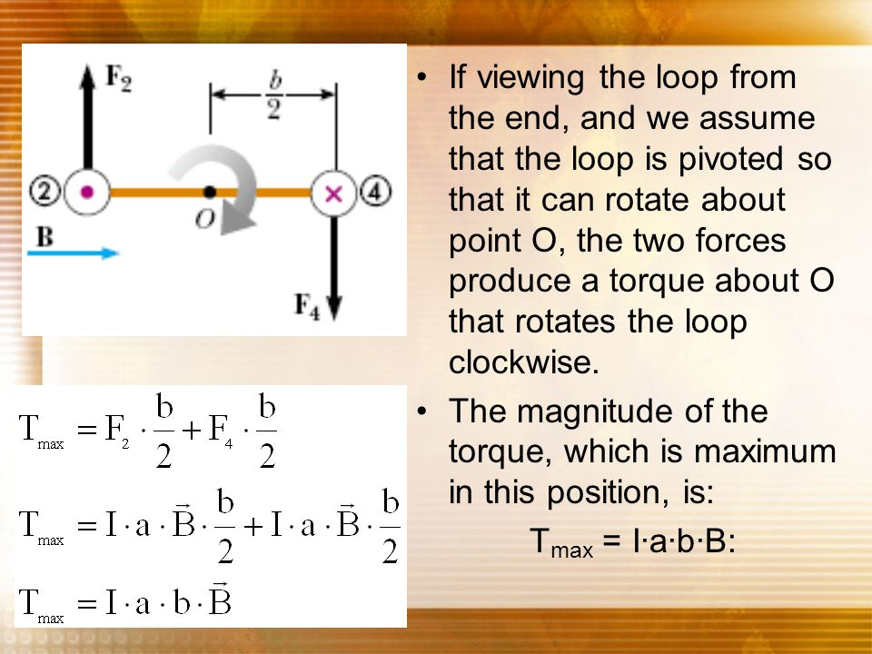 If viewing the loop from the end, and we assume that the loop is pivoted so that it can rotate about point O, the two forces produce a torque about O that rotates the loop clockwise.