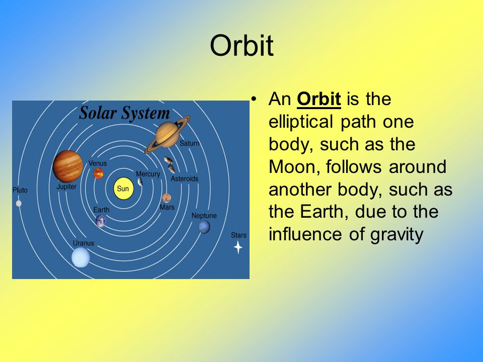 Orbit An Orbit is the elliptical path one body, such as the Moon, follows around another body, such as the Earth, due to the influence of gravity.