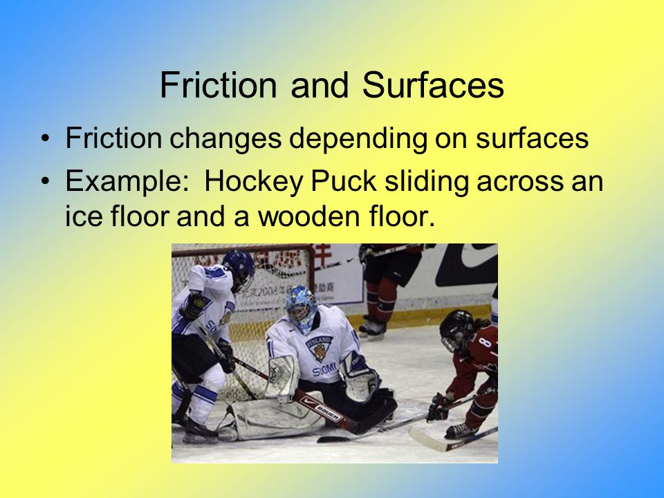 Friction and Surfaces Friction changes depending on surfaces