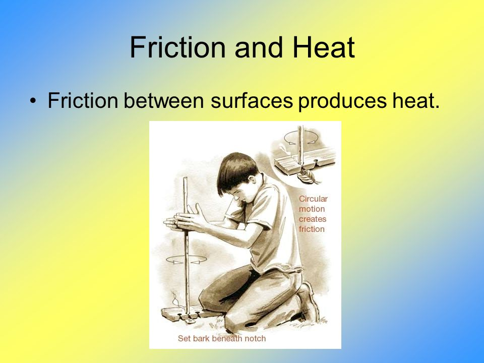 Friction and Heat Friction between surfaces produces heat.