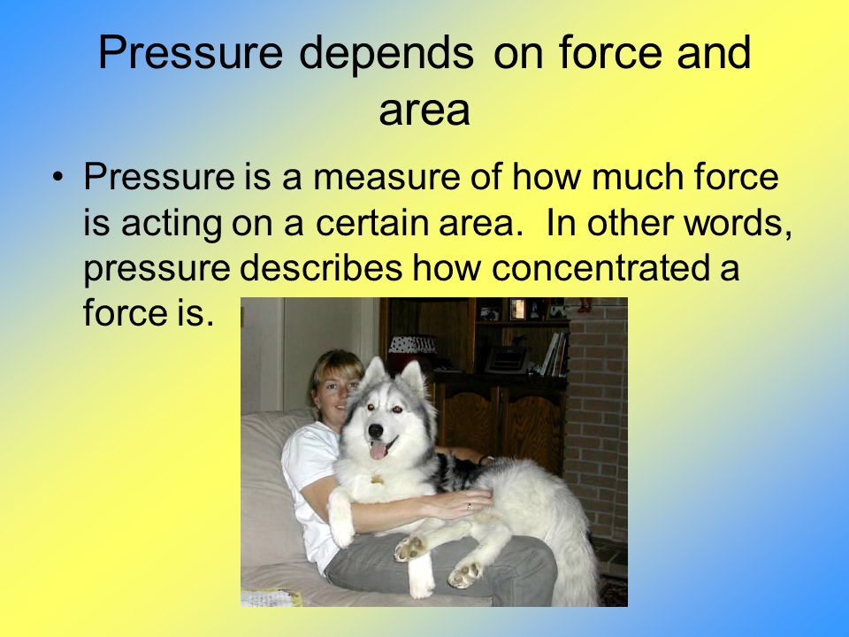 Pressure depends on force and area