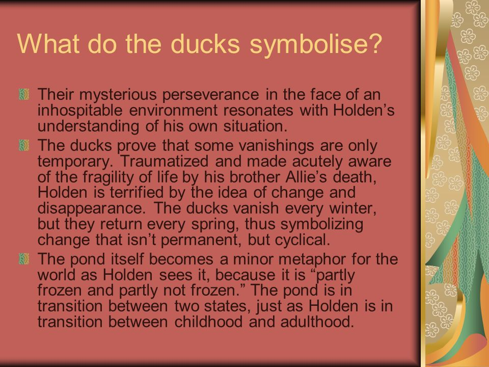 What do the ducks symbolise