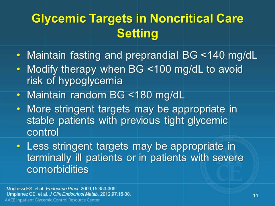 Glycemic Targets in Noncritical Care Setting