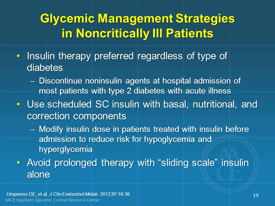 Glycemic Management Strategies in Noncritically Ill Patients