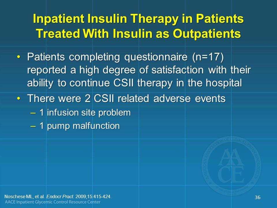 Inpatient Insulin Therapy in Patients Treated With Insulin as Outpatients