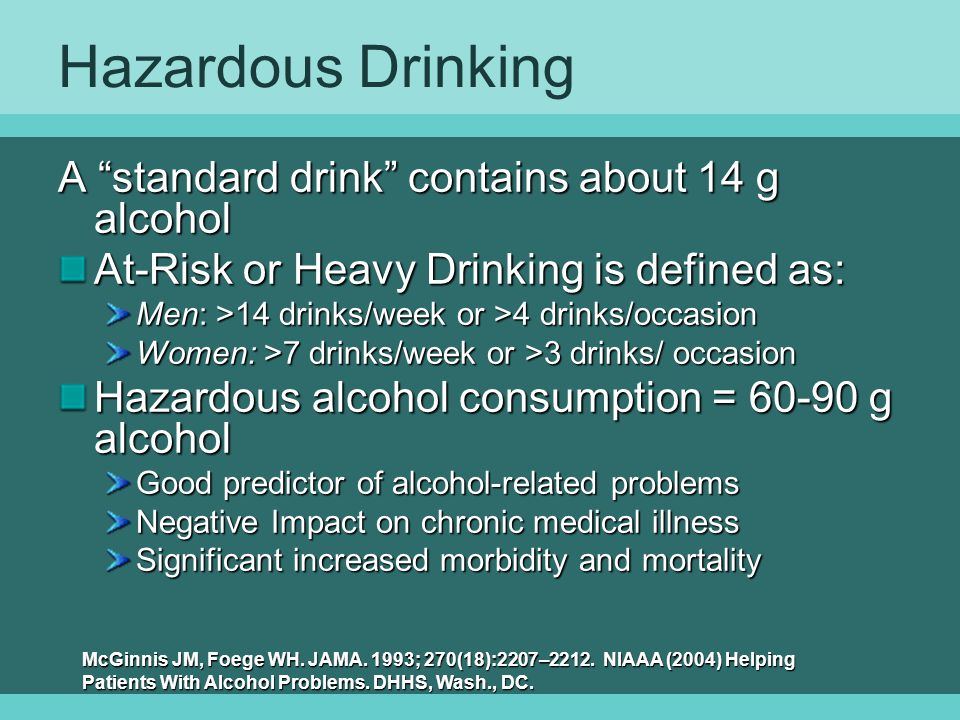 Hazardous Drinking A standard drink contains about 14 g alcohol