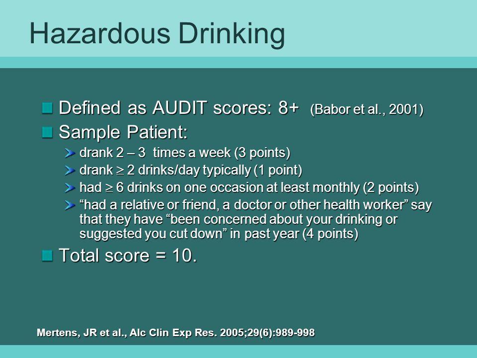 Hazardous Drinking Defined as AUDIT scores: 8+ (Babor et al., 2001)