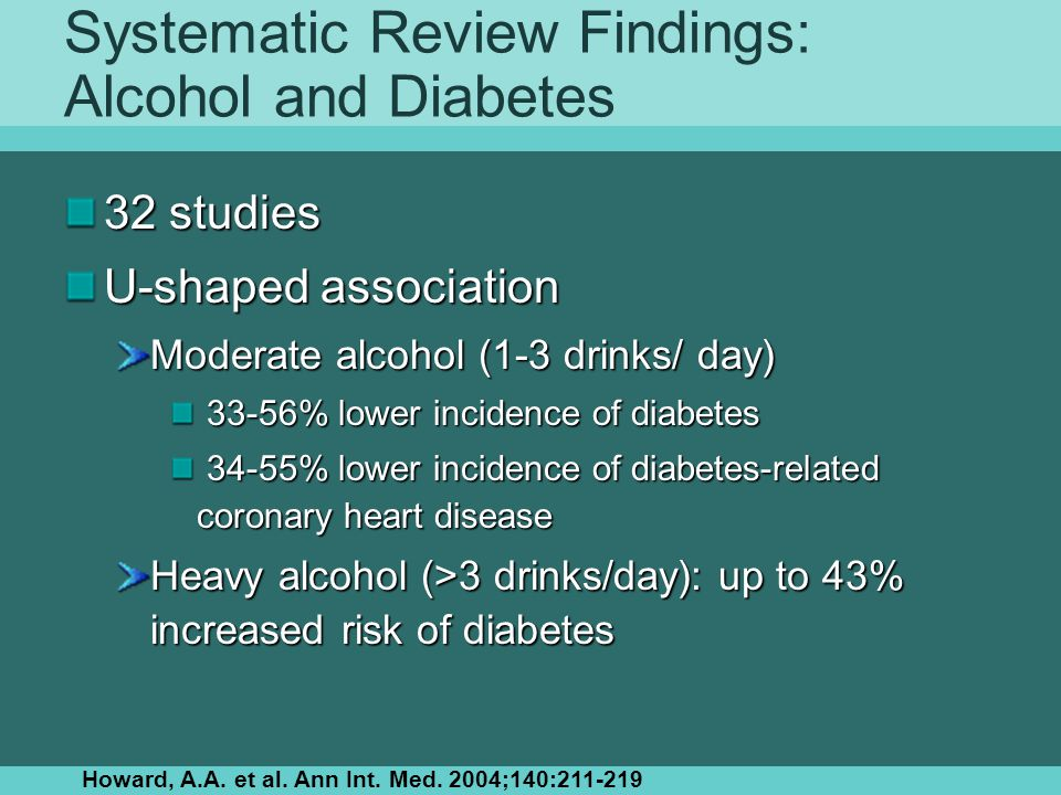 Systematic Review Findings: Alcohol and Diabetes