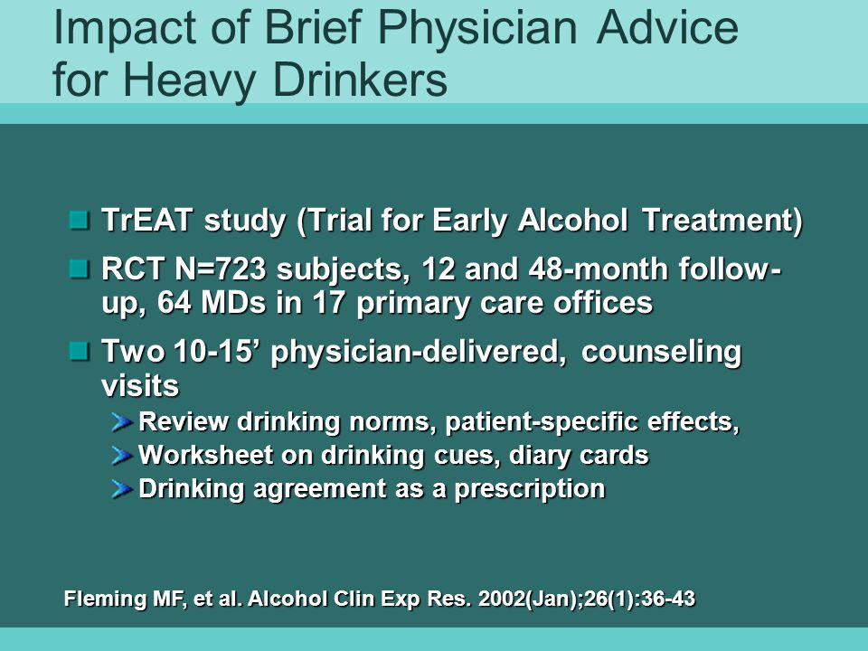 Impact of Brief Physician Advice for Heavy Drinkers
