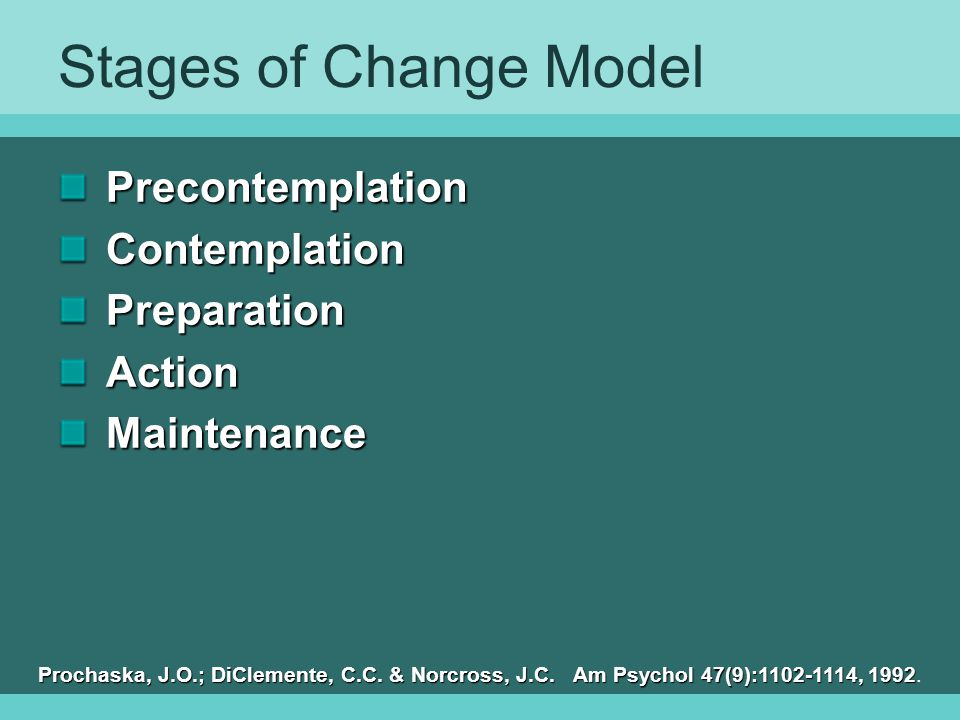 Stages of Change Model Precontemplation Contemplation Preparation